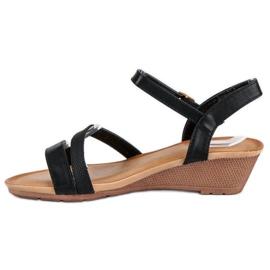 Bello Star Wygodne sandały na koturnie czarne 1