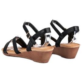 Bello Star Wygodne sandały na koturnie czarne 2