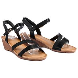 Bello Star Wygodne sandały na koturnie czarne 3