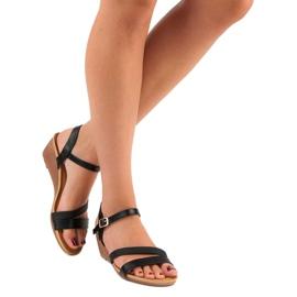 Bello Star Wygodne sandały na koturnie czarne 5