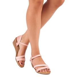 Bello Star Wygodne sandały na koturnie różowe 7
