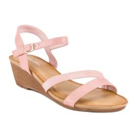 Bello Star Wygodne sandały na koturnie różowe 1