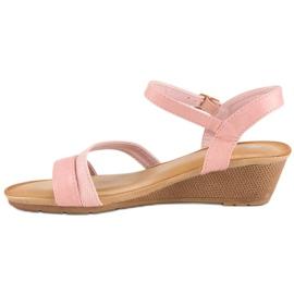 Bello Star Wygodne sandały na koturnie różowe 2