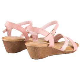 Bello Star Wygodne sandały na koturnie różowe 3