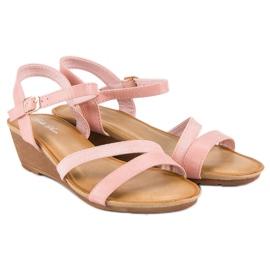 Bello Star Wygodne sandały na koturnie różowe 4