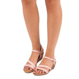 Bello Star Wygodne sandały na koturnie różowe 5