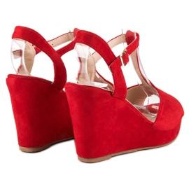Bella Star Zamszowe sandały na koturnie czerwone 2