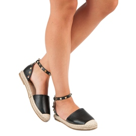 Rockowe sandały espadryle czarne 3