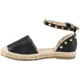 Rockowe sandały espadryle czarne 6