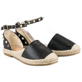 Rockowe sandały espadryle czarne 1