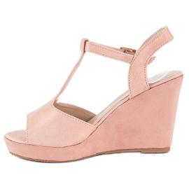 Bella Star Zamszowe sandały na koturnie różowe 2