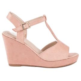 Bella Star Zamszowe sandały na koturnie różowe 4