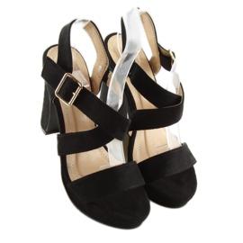 Sandałki na słupku czane BJ1602-SD black czarne 4