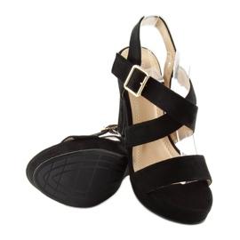 Sandałki na słupku czane BJ1602-SD black czarne 2