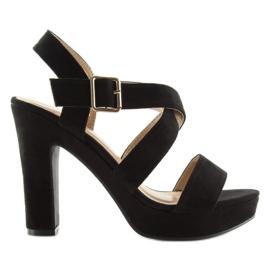 Sandałki na słupku czane BJ1602-SD black czarne 6