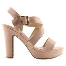 Sandałki na słupku różowe BJ1602-SD 4