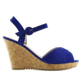 Sandałki na korkowym koturnie 3811-13 blue granatowe 4