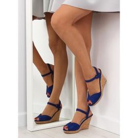 Sandałki na korkowym koturnie 3811-13 blue granatowe 1