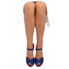 Sandałki na korkowym koturnie 3811-13 blue granatowe 3