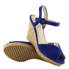 Sandałki na korkowym koturnie 3811-13 blue granatowe 5
