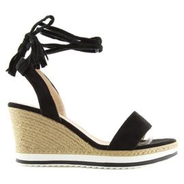Sandałki na koturnie czarne JH630 black 5