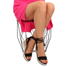 Sandałki na koturnie czarne JH630 black 1