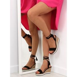 Sandałki na koturnie czarne JH630 black 2
