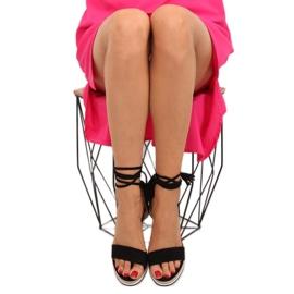 Sandałki na koturnie czarne JH630 black 3