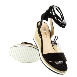 Sandałki na koturnie czarne JH630 black 4