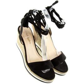Sandałki na koturnie czarne JH630 black 6