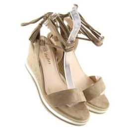 Sandałki na koturnie beżowe JH630 khaki beżowy 3