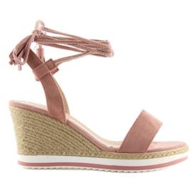Sandałki na koturnie różowe JH630 pink 2