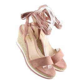 Sandałki na koturnie różowe JH630 pink 3
