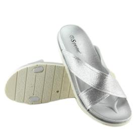Klapki damskie srebrne CK47P silver szare 4