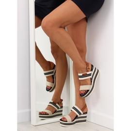 Sandałki na koturnie beżowe D-37 beige beżowy 3