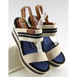 Sandałki na koturnie beżowe D-37 beige beżowy 5