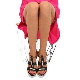 Sandałki na koturnie czarne YQ05 Black 2