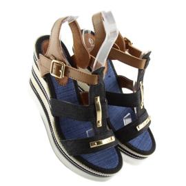 Sandałki na koturnie czarne YQ05 Black 3