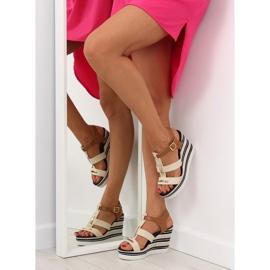 Sandałki na koturnie beżowe YQ05 Beige beżowy 4