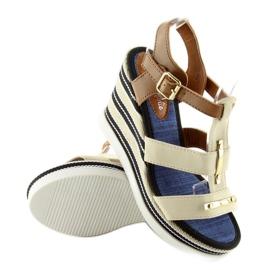 Sandałki na koturnie beżowe YQ05 Beige beżowy 1