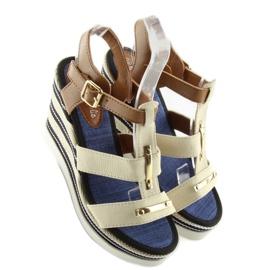 Sandałki na koturnie beżowe YQ05 Beige beżowy 3