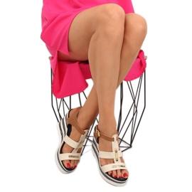 Sandałki na koturnie beżowe YQ05 Beige beżowy 5