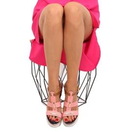 Sandałki na koturnie różowe YQ05 Pink 2