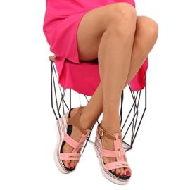 Sandałki na koturnie różowe YQ05 Pink 5