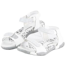 Hasby Płaskie sandały na rzep białe 1