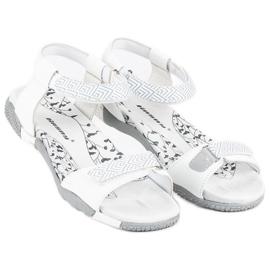 Hasby Płaskie sandały na rzep białe 4