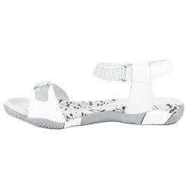 Hasby Płaskie sandały na rzep białe 2