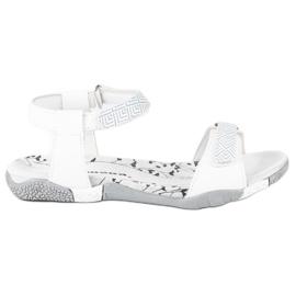 Hasby Płaskie sandały na rzep białe 3