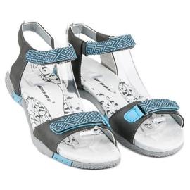 Hasby Płaskie sandały na rzep szare 2