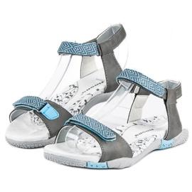 Hasby Płaskie sandały na rzep szare 1
